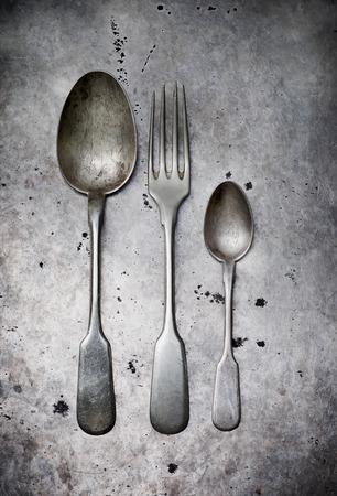 Vintage tableware on a metal