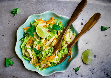 chicken salad: Vietnamese cabbage salad. Top view. selective focus Stock Photo