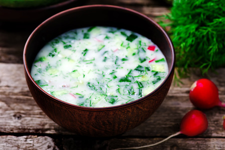 cold soup: okroshka, traditional Russian cold soup. style rustic. selective focus