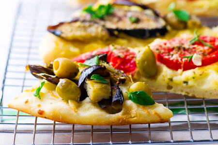 sorts: all sorts of the pizza cut with pieces. selective focus Stock Photo