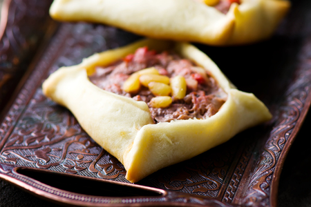 lebanese: traditional Lebanese meat pies. selective focus