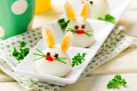 healthy meals: Boiled Egg Bunny Rabbit for a childrens party. selective focus.