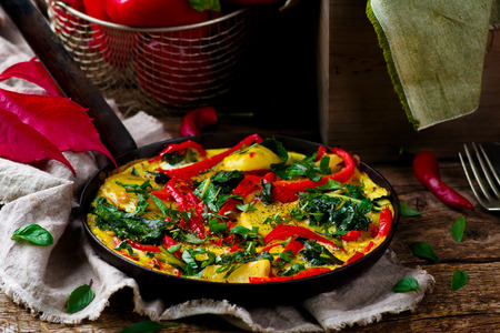 chard: fritatta with potato ,pepper, and swiss chard style rustic. selective focus
