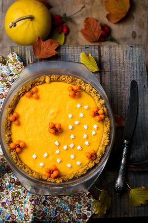 pumpkin pie: pumpkin ice cream pie  on an autumn background selective focus Stock Photo