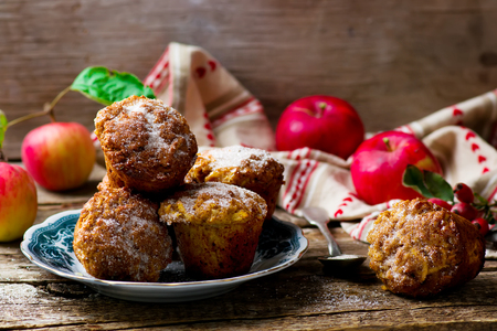 muffin: muffins with apples and oat flakes. style rustic. selective focus