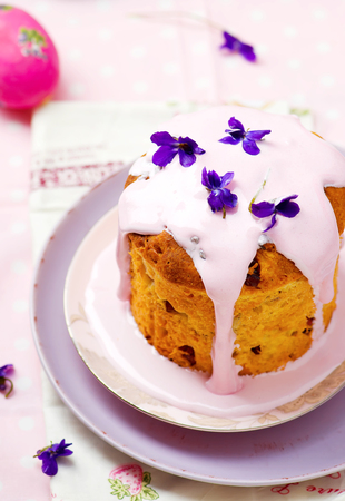 russian easter: Easter cake kulich, traditional Russian easter pastries.