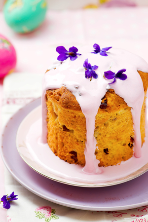 russian easter: Easter cake kulich, traditional Russian easter pastries. style rustic, wooden background