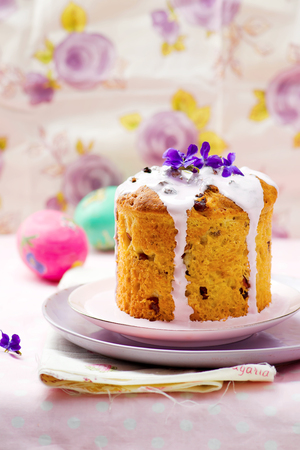 russian easter: Easter cake kulich, traditional Russian easter pastries. style rustic, wooden background.