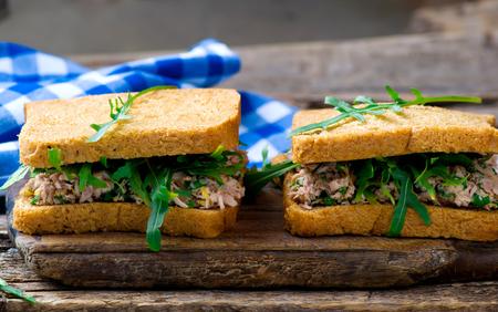 tuna mayo: sandwich with a tuna. style rustic. selective focus