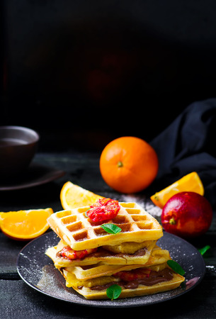 nutella: Vaffles with nutella and orange .selective focus Stock Photo