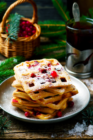 bran: waffle with bran and cranberry.selective focus Stock Photo