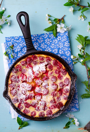 summer pudding: clafoutis with cherry. style vintage. selective focus