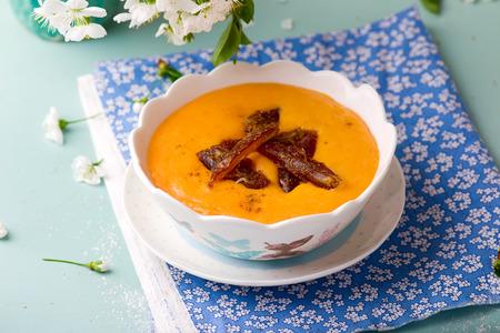 semolina: semolina porridge with pumpkin and dates. selective focus