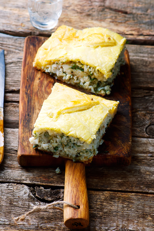 fresh food fish cake: Fish pie and rice. selective focus. style rustic Stock Photo