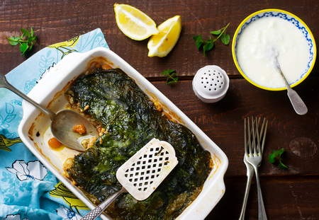 chard: Dolma Style Chicken and Swiss Chard Spring Moussaka