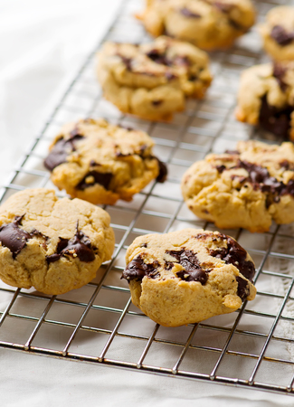 oatmeal cookies with chocolate. selective focus
