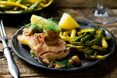 poached: Fish Fillet Poached in Cider.seletive focus