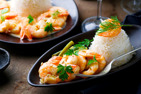 delicious food: Sauteed Shrimp in White Wine.selective focus