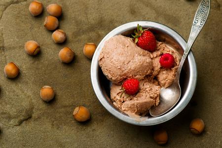 nutella: frozen nutella yogurt. style rustic. selective focus