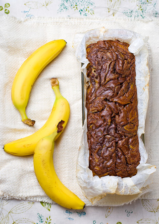 nutella: Banana bread with nutella. Selective focus. Style rustic.