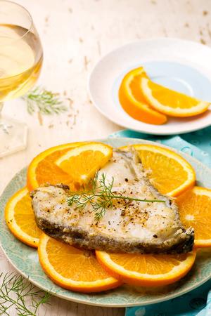 halibut: Orange Halibut Steaks..seletive focus Stock Photo