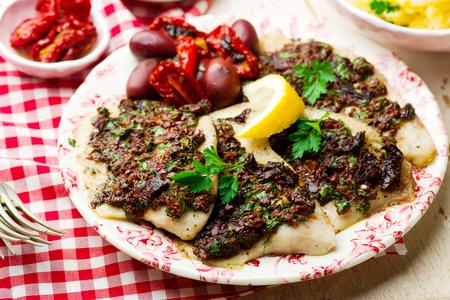 Mediterranean Spiced Fish Fillets..seletive focus Stock Photo