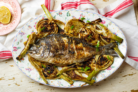 Grilled Fish with Fennel.seletive focus Stock Photo