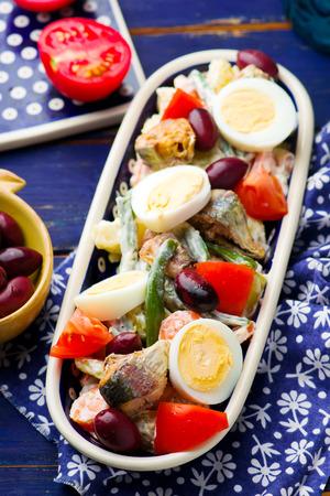 sardine: Mixed Vegetable and Sardine Salad . selective focus selective focus