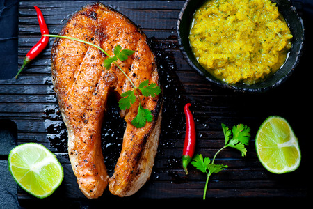 Grilled Salmon Steaks with Mango Dip.selective focus