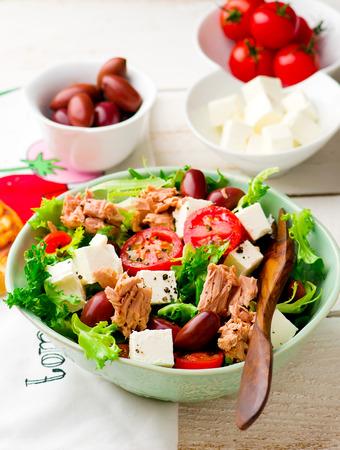 Tomato and Endive Salad with Tuna. selective focus
