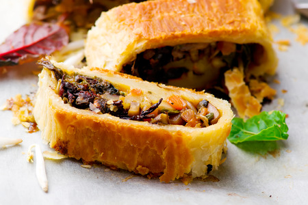 MUNG BEAN, MUSHROOM AND VEGETABLE STRUDEL Stock Photo