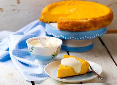 breackfast: Pumpkin cheese cake..style vintage.selective focus