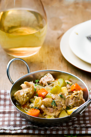 Chicken and Root Vegetable Fricassee.selective focus Stock Photo