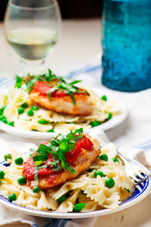 Chicken Cutlets in Pizzaiola Sauce.1 .selective focus Stock Photo