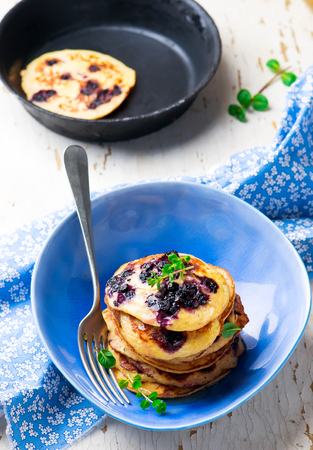 oatmeal: oatmeal pancakes with blueberry.selective focus