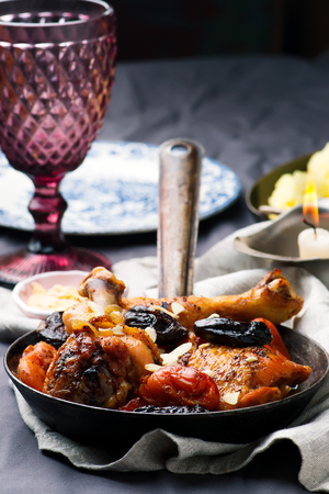 Chicken with Dried Fruits. .selective focus