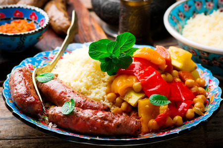 Couscous en Merguez Sausages.selective focus