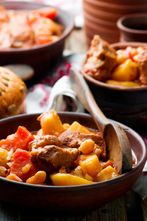 shabbat: Hungarian Cholent Slow Cooker Beef-Stew.rustic style.selective focus