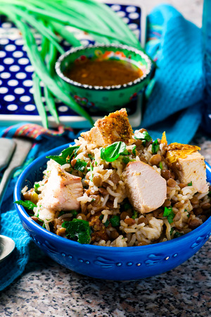 lenteja: Rice, Chicken and Lentil Salad with Herbs.selective focus Foto de archivo