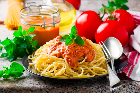 Spaghettini with Rosy-red Sauce.selective focus