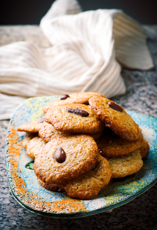 almond cookies.style rustic.selective focus Stock Photo