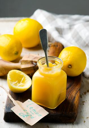 Lemon curd in glass jar.style rustic.selective focus