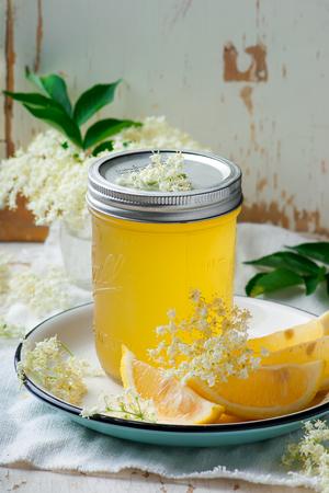 elderflower cordial in glass jar .style vintage. selective focus Stock Photo
