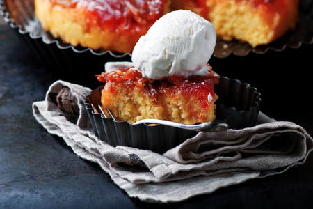 Rhubarb upside down cake..style rustic. selective focus Stock Photo