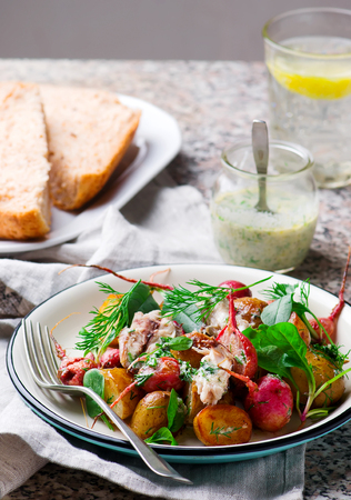 roast radish new potato peppered mackerel salad. style vintage .selective focus