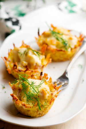 Potato and chicken cups.. style rustic. selective focus Stock Photo