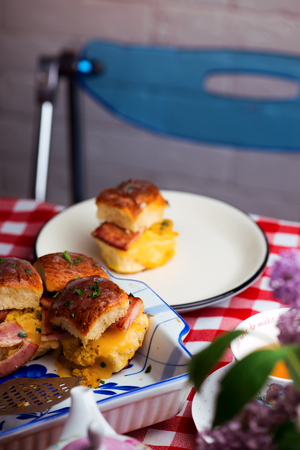 Breakfast Sliders. buns with bacon.selective focus