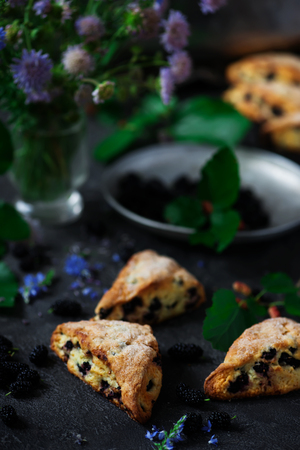 Mulberry Scones.style vintage.selective focus Stok Fotoğraf