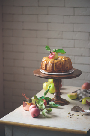 Cardamom Ed Whole Wheat Apple Cake And Honey Caramel Rustic Photo Selective Focus Stock