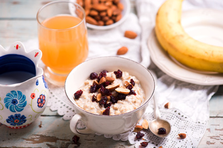 overnight oats with  cranberry and banana .selective focus